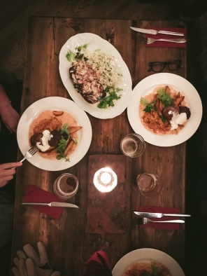 Table with plates of food