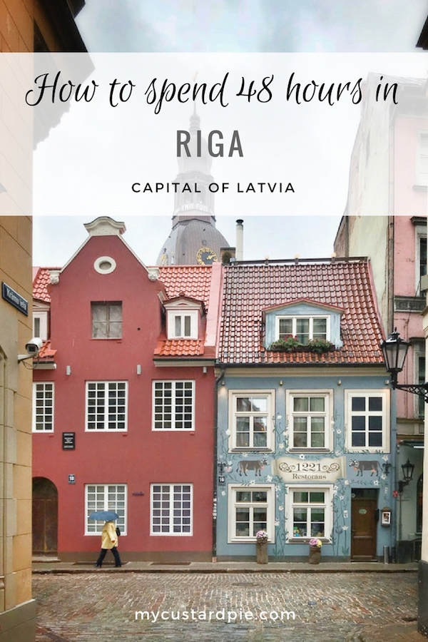 Blue and red houses in Riga, Latvia