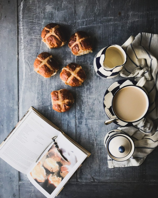 hot cross buns and a cup of tea plus cookbook
