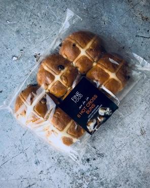 a pack of hot cross buns