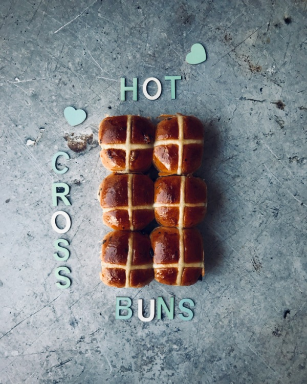hot cross buns with letters spelling out hot cross buns