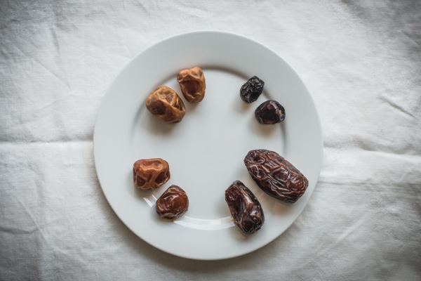 Four types of date on a plate