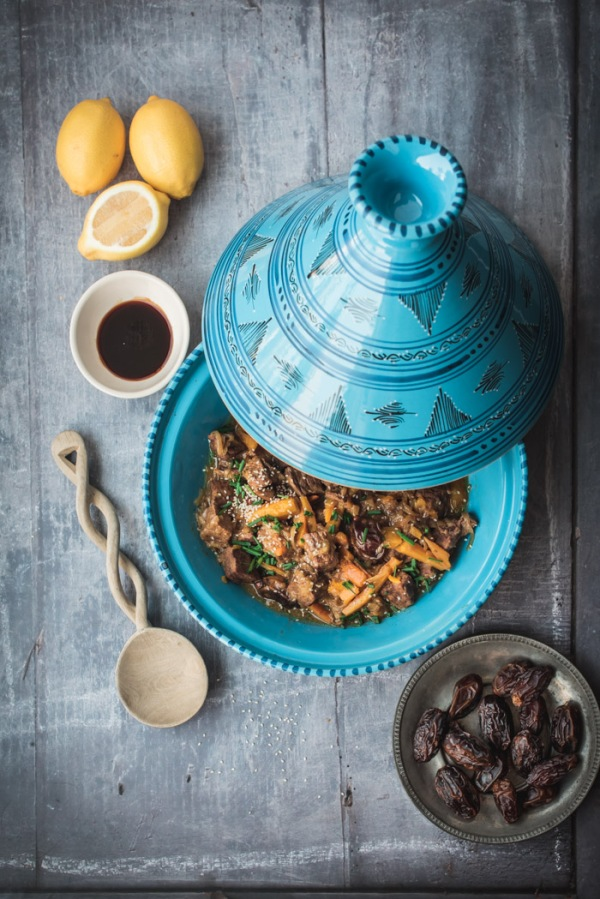 date and beef tagine with a plate of dates