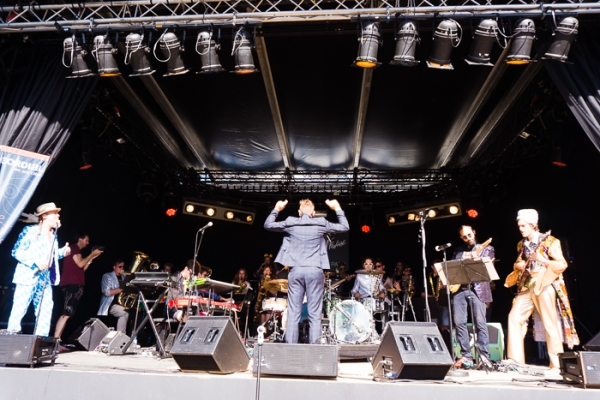 Band on stage at the Montreux jazz festival