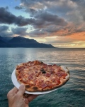 pizza with lac leman in the background
