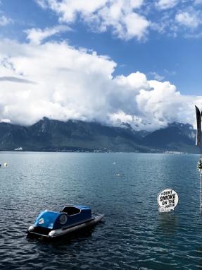 anti smoking sign in lake