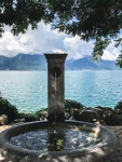 a water fountain by lake geneva
