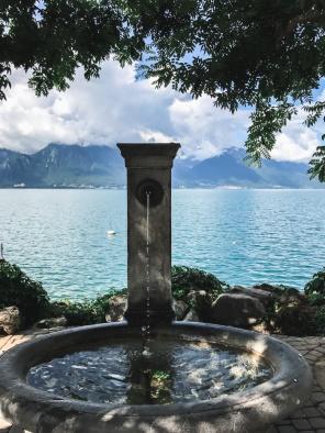 a water fountain by lake geneva