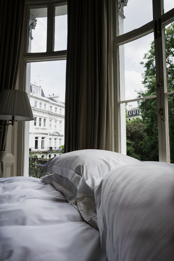 bed with view through window