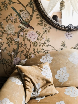 sofa and painted wallpaper