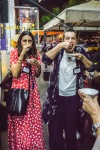 two women eating pani puri on a food tour in Dubai