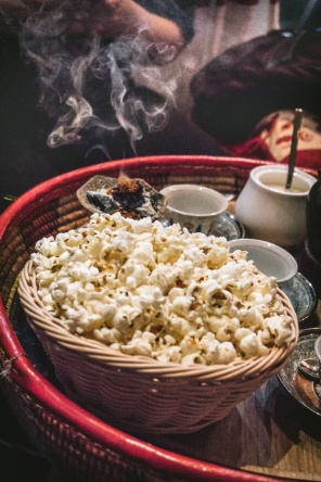 Coffee, popcorn and incense at an Ethiopian coffee ritual
