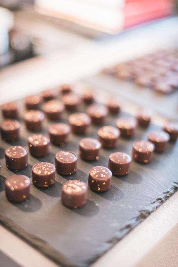 a slate full of chocolates