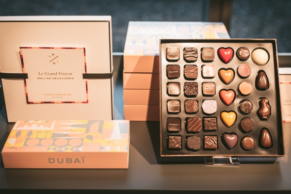 Boxes of Pierre Marcolini Dubai chocolates