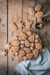 gingerbread biscuits on a wooden board