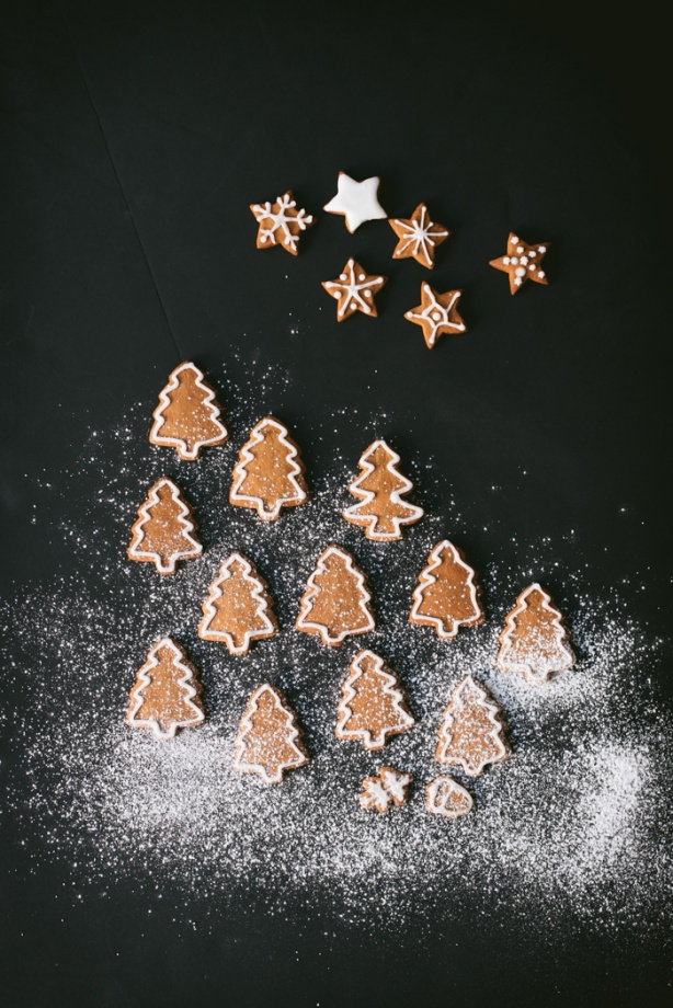 gingerbread trees and stars