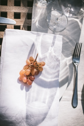grapes on a table napkin