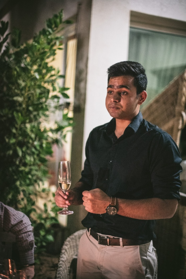 Sommelier holding a glass