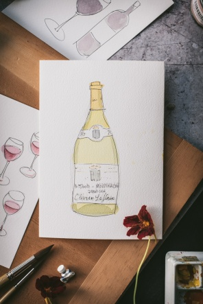 a painting of a bottle of white Burgundy Olivier Leflaive