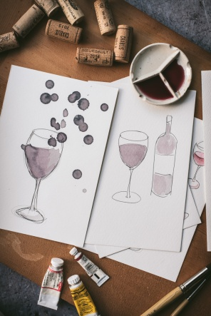 Paintings of wine made with wine