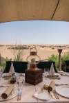 close up of a table set for lunch overlooking the desert