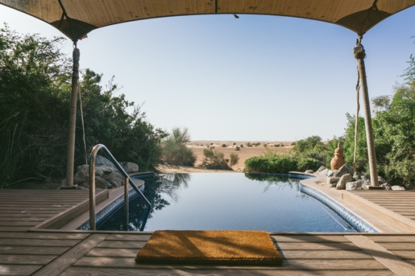 infinity pool overlooking the desert
