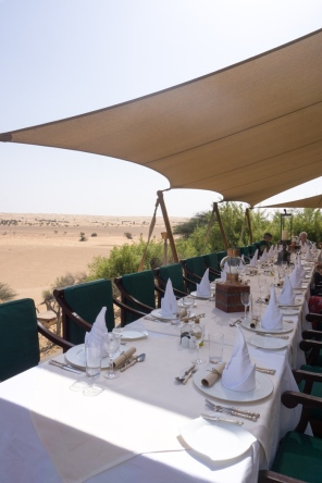lunch table overlooking desert
