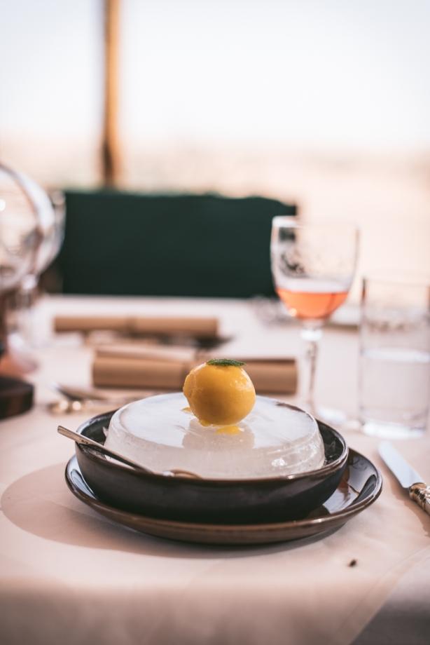 mango sorbet on an ice circle