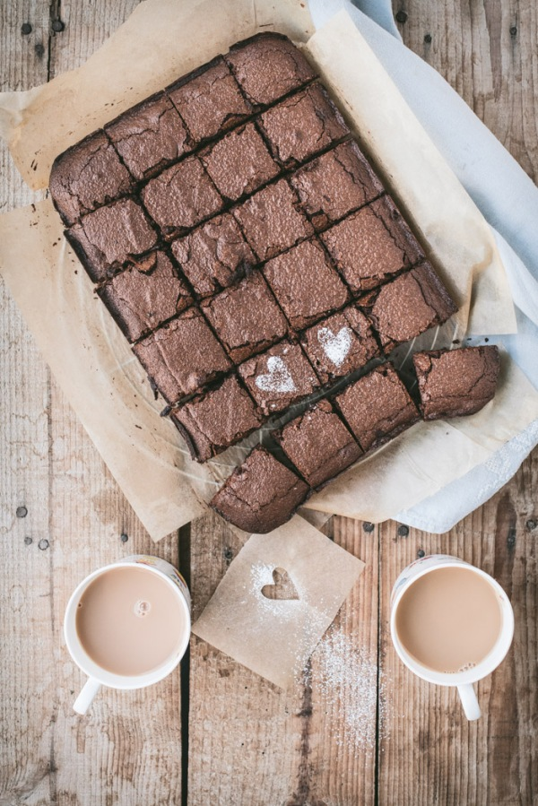 Chocolate brownies and two cups of tea