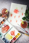 paintings of Bloody Marys plus some glasses of it