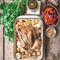 Parsley, mustard and preserved lemon roast chicken