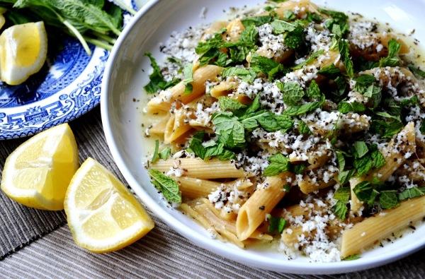 a plate of halloumi pasta
