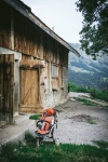 pushchair in front of cow shed