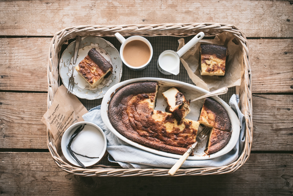 tray with tea, sugar and far breton