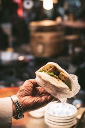 Gua bao bun in a hand