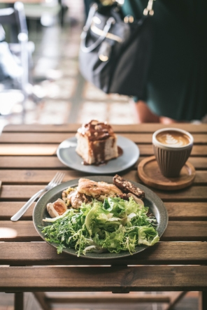 coffee and food on a table