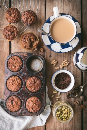 banana date muffins and a cup of tea