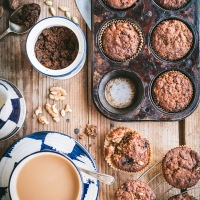 Banana, date and walnut muffins