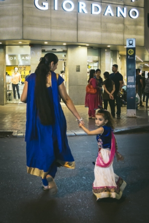 Woman and child weating saris