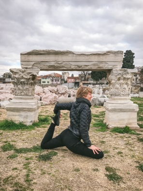 Jane by ancient ruins in Smyrna (now Izmir)