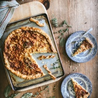 Thyme and leek (or onion) tart recipe